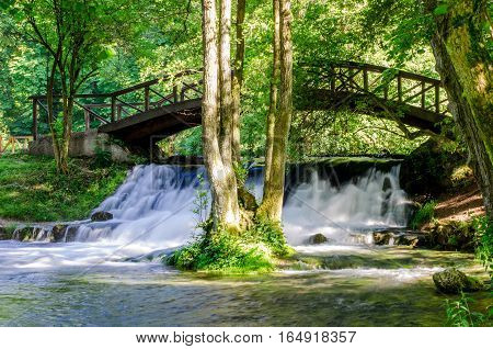 Beautiful waterfall of river Bosna near Sarajevo