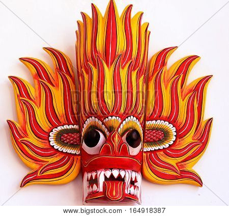 Sri Lankan traditional Fire Devil wood mask