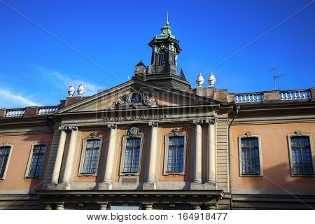 STOCKHOLM SWEDEN - AUGUST 19 2016: The Swedish Academy and Nobel Museum located on Stortorget square Gamla Stan in Stockholm Sweden on August 19 2016.