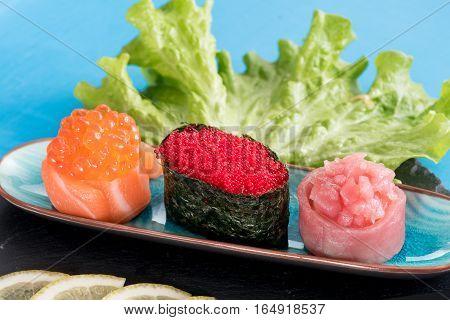 Gunkan Maki Sushi Served