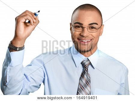 Businessman Writing with Dry Erase Marker - Isolated