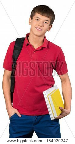 Teen male preppy holding laptop and school book