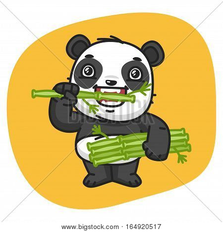 Vector Illustration, Panda Eating Bamboo, Format EPS 8