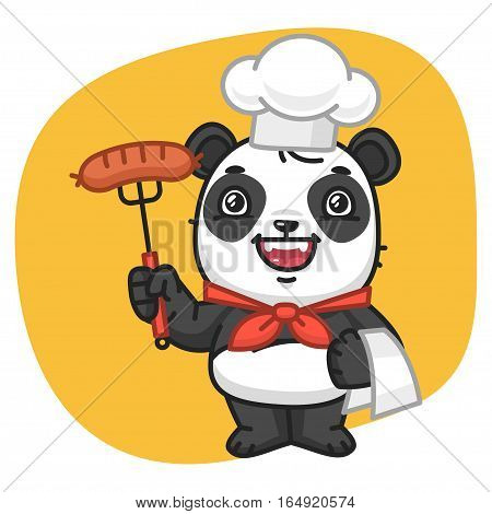 Vector Illustration, Panda Chef Holding Fork with Sausage, Format EPS 8
