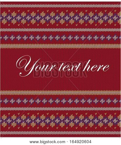 Knitted  texture on red, claret, background with place for text. Colorful striped pattern. Can be used as scheme of knitting, wallpaper, design element, independent project, website etc. Woolen cloth.