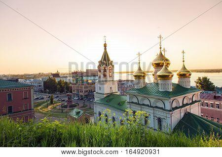 NIZHNY NOVGOROD RUSSIA - June 1 2016:View of the Church Of The Nativity Of John The Baptist and Volga river. Russia Nizhny Novgorod
