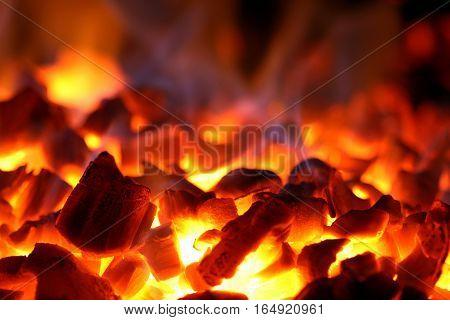 Burning Coal. Heat. The Extinct Fire. Bbq, Fireplace.