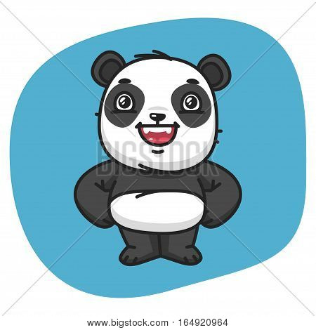 Vector Illustration, Panda Holds Paw Waist, Format EPS 8