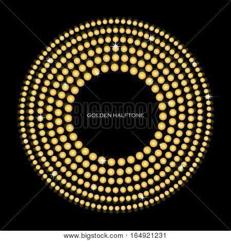 Golden halftone pattern sparkling golden circles background