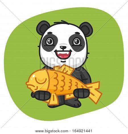 Vector Illustration, Panda Holds Big Fish, Format EPS 8