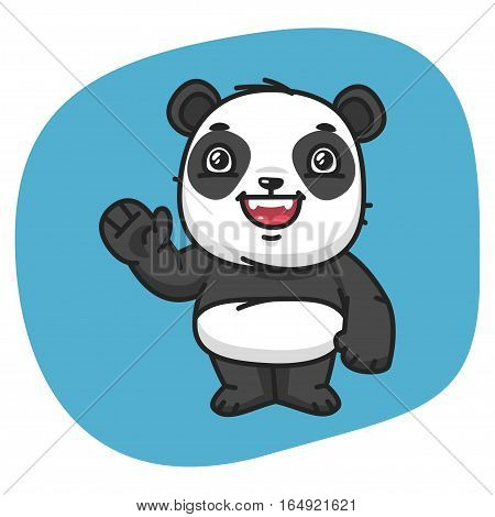 Vector Illustration, Panda Waving Paw, Format EPS 8