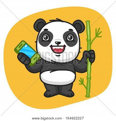 Vector Illustration, Panda Holds Bamboo and Phone, Format EPS 8