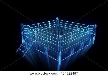 Boxing Ring in Hologram Wireframe. Nice 3D Rendering