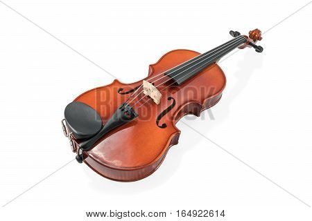Brown classic violin lying horizontally with an overlay for the neck isolated on white background