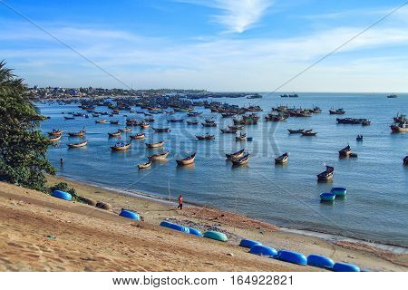Fishing boats in marina at Phat Thiet Mui Ne Vietnam