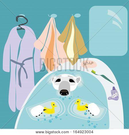 Polar bear taking bath with two yellow ducks