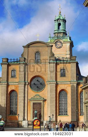 STOCKHOLM SWEDEN - AUGUST 19 2016: Church of St. Nicholas (Storkyrkan) located on the Slottsbacken street near the Royal Palace in Stockholm Sweden on August 19 2016.