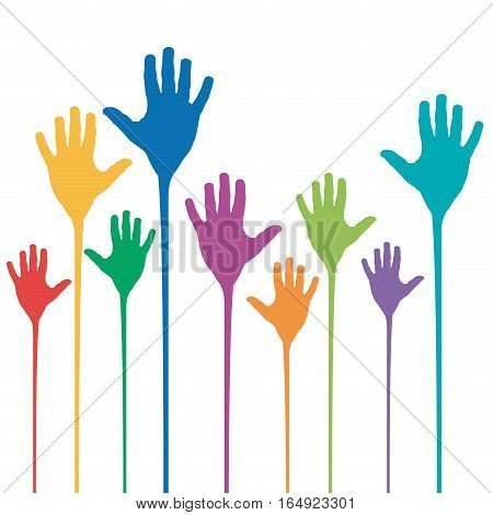 Vector abstract rainbow hands up, isolated illustration on white