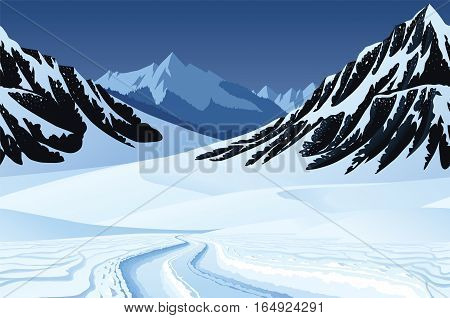 A high quality horizontal seamless background with winter landscape, mountains and snow