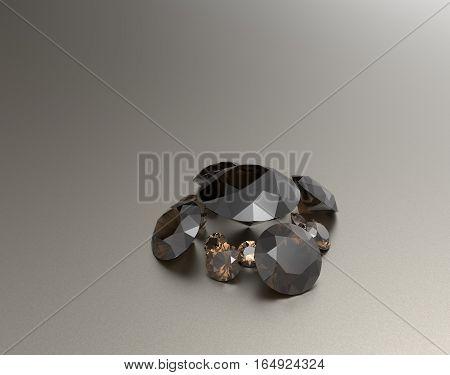 Background with brown gemstones. Fashionable and stylish accessories. 3D illustration