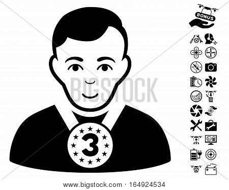 3rd Prizer Sportsman icon with bonus copter tools pictograph collection. Vector illustration style is flat iconic black symbols on white background.