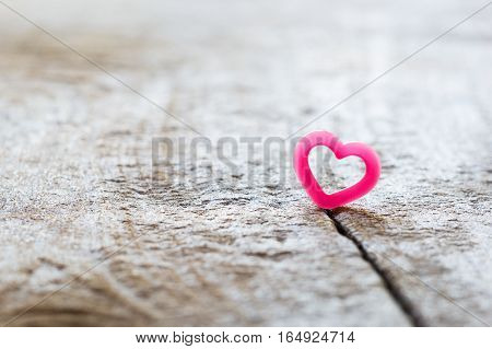 One Hearts On Rift Wood.  Concept Love Is Not Smooth Every Day Some Time Have Quarrel.