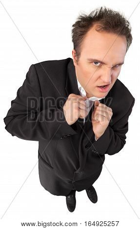Young Man In Suit Standing With Hands In Pockets Top-down View - Isolated