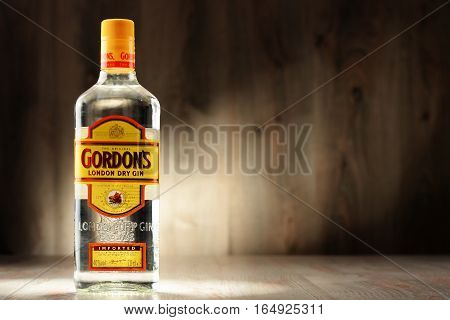 POZNAN POLAND - DEC 8 2016: Gordon's is a brand of the world's best selling London Dry gin. It is owned by the British spirits company Diageo.