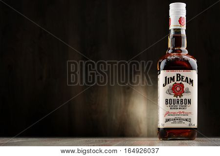 POZNAN POLAND - DEC 2 2016: Jim Beam is one of best selling brands of bourbon in the world produced by Beam Inc. in Clermont Kentucky.