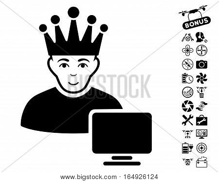 Computer Moderator pictograph with bonus copter service symbols. Vector illustration style is flat iconic black symbols on white background.