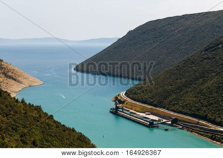 Sea Bay and unloading area of the coal power plant near the town of Plomin, Croatia