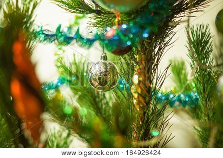 Christmas decoration on abstract backgroundvintage filtersoft focus