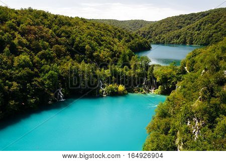 Top view of the Lake Gavanovac and Milanovac and at the national park Plitvice Lakes.