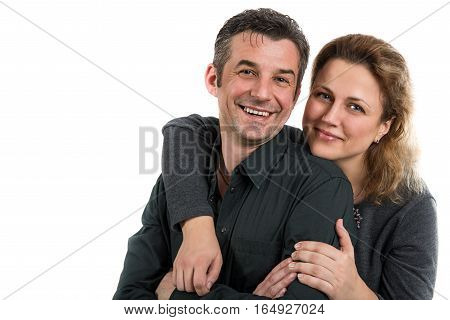 Man and woman. Portrait of a happy heterosexual couples