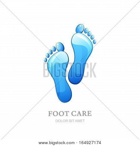 Womens Foot Care Vector Logo, Label Design. Female Sole With Clean Water Texture.