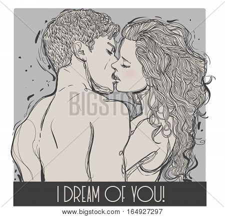 kissing young couple in love. vector illustration