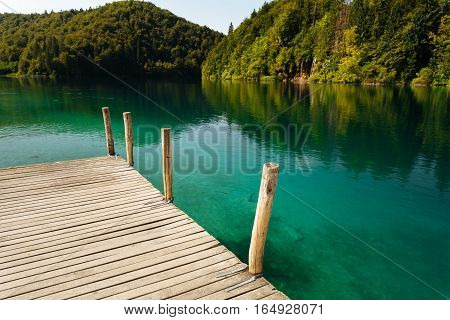 Wooden pier in the Plitvice Lakes National Park.
