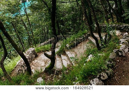 Stairs from the rocks in the national park Plitvice Lakes.