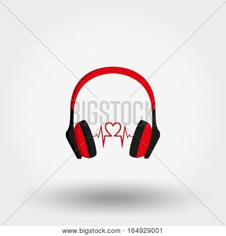 Headphones. Icon for web and mobile application. Vector illustration on a white background. Flat design style