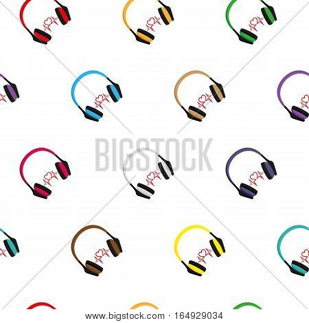 Headphones. Seamless pattern on white background. Vector illustration. Flat design style. Swatch inside