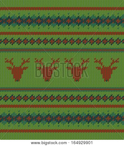 Knitted  texture on green background with deers. Colorful striped pattern. Sample can be used as scheme of knitting, wallpaper, design element, independent project, etc. Woolen cloth, handmade.