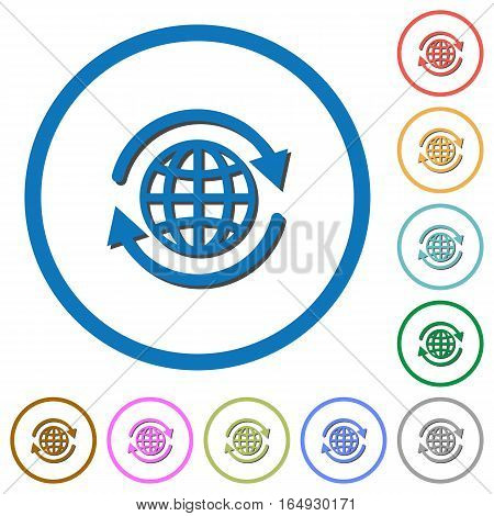 International flat color vector icons with shadows in round outlines on white background