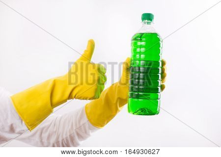 Woman Recommending Cleaning Product
