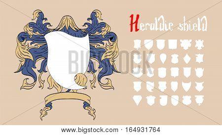 Vector Heraldic Shield Set of 30 shields
