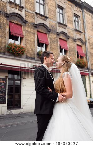 My life. Gorgeous young wedding couple on the city streets