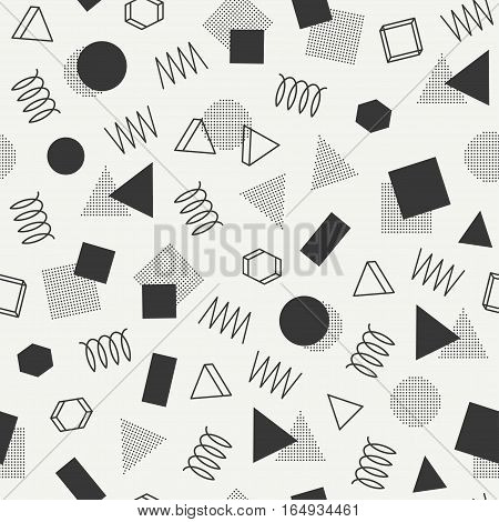 Retro memphis geometric line shapes seamless patterns. Hipster fashion 80-90s. Abstract jumble textures. Black and white. Zigzag lines. Triangle. Memphis style for printing, website, poster.