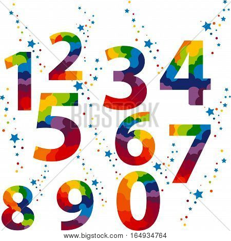 Numbers set colored, idea numerals typography design element for wedding invitation, mathematics logo symbols mockup.