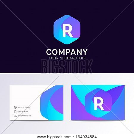 Abstract Flat R Letter Logo Iconic Sign With Company Business Card Vector Design