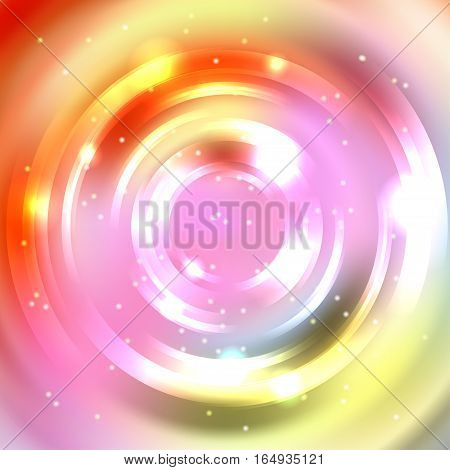 Vector Round Frame. Shining Circle Banner. Vector Design. Glowing Spiral. Yellow, Pink, Orange Color