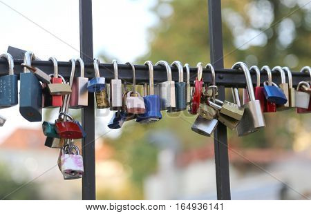 Padlocks Hanging From The Bridge A Symbol Of Endless Love And Lo